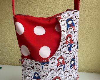 Bag shoulder bag printed fabric of matrioshkas