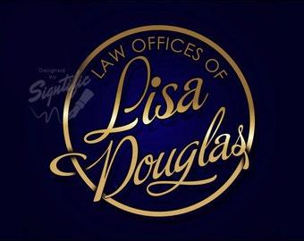 Custom name logo, round logo design, classy logo for your professional business, lawyer business logo design, premade logo, free PSD file