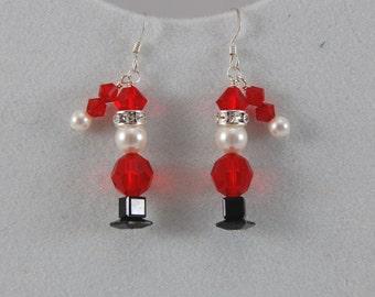 Swarovski Crystal Santa Earrings