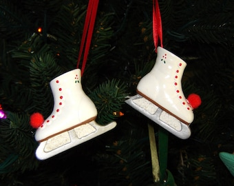 Pair of Ice Skate Ornaments in Red - Skating Ornaments - Christmas Ornaments - Ceramic Ornaments - Skates Ornaments