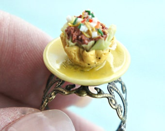 taco salad ring- miniature food jewelry, food ring