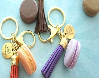 french macaron keychain and bag charm- macaron charm, paris inspired