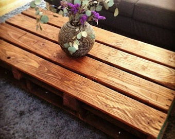 Coffee table on wheels from reclaim wood