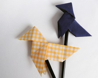Fabric origami hair stick – yellow Vichy - large size