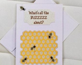 Bee Birthday Card - Happy Birthday Card - Handmade Birthday Card - Bumblebee Birthday Card