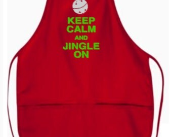 "Keep Calm and Jingle On With Silver Bell 2 pocket 24"" Apron"