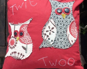 Twit Twoo Owl Cushion Red