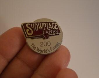 Vintage Showplace Lanes Bowling 200 Game Lapel Pin