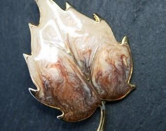 Clearance (15% Off) - Vintage 1980s Enamelled Leaf Brooch