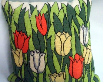 Vintage 1970's Needlepoint Spring Tulips Pillow
