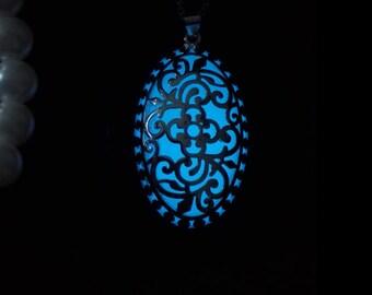 Flower Pattern Pendant - Aqua Blue Glow Pendant - Aqua Blue Glow Necklace - Glow in the Dark Necklace