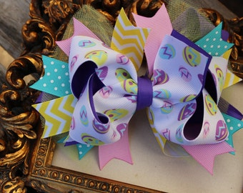 Easter Hair Bow- Boutique Bow - Large Boutique Bow- Hairbows for Easter- Purple Boutique Bow- Pink Hair Bow- Boutique Hair Bow- Large Bow