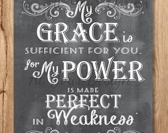 16x20 Sufficient Grace Chalkboard Wall Art, Bible Verse, Printable Scripture art Chalkboard 2 Corinthians 12 v 9 Instant Download