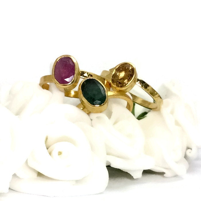 emerald ring ruby ring citrine ring oval ring by kastonijewels