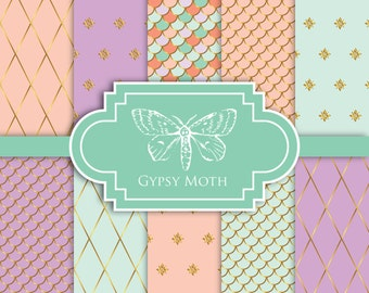Pastel Digital Paper - Luxe Pastels - Digital Scrapbook Printable Paper Pack Spring Summer