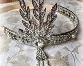 RHINESTONE HEADPIECE, Great Gatsby, Christmas, crown, vintage, rhinestone, new years, pearl, bride, bridal, victorian, new year, flapper
