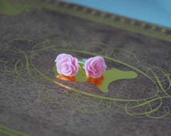 Light pink resin rose earrings, light pink rose earrings, flower earrings