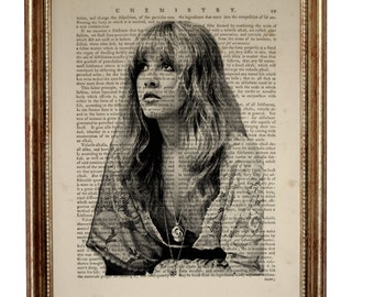 Stevie Nicks Art Print on Vintage Dictionary Page, Vintage Dictionary Art Print, Upcycled Book 8 x 10 inches