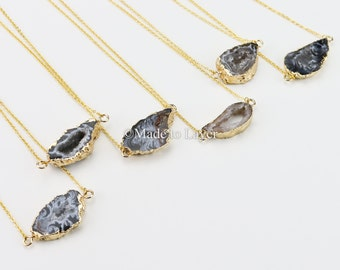 Agate Druzy Geode Stone Necklace Jewelry, Druzy Necklace, Slice Druzy Geode Agate Slice Druzy Pendant, Agate Pendant, Stone Necklace