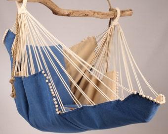 Hammock chair (blue/beige)