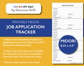 Midori Travelers Notebook Job Application Tracker - Printable Job Application Log for MTN