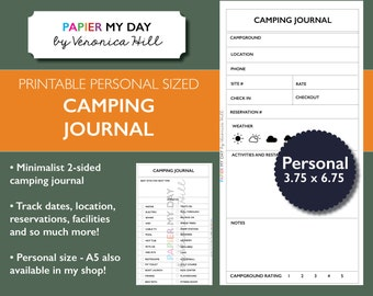 Filofax Camping Journal - Personal Size - Printable Camping Planner for Filofax Personal, Kikki K Medium planners
