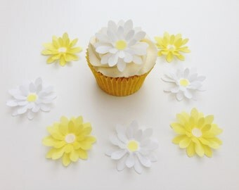 8 Edible Large Yellow and White 3D Wafer Flowers Cupcake Toppers Precut