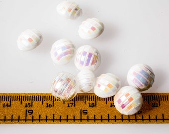 glass buttons with White Pearl reflections, transparencies