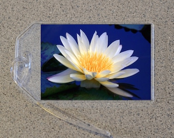 White Water Lily Luggage Tag Name Address Bag Tags, Nymphaeaceae Lilypad Pond Flower Blue Water Spring Floral Garden Bouquet