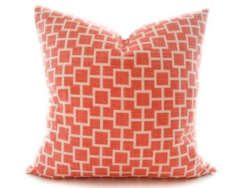 Linen pillow cover - Coral toss pillow - Salmon Off White Accent Pillow - Graphic decorative pillow