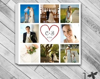 """Customized Wedding Photos Collage - Your Initals and Date in Heart - Stretched Canvas Size 12""""x12"""" and up"""