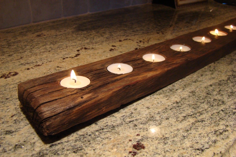 Reclaimed wood rustic candle holder tea light runner 9 for Rustic wood candle holders