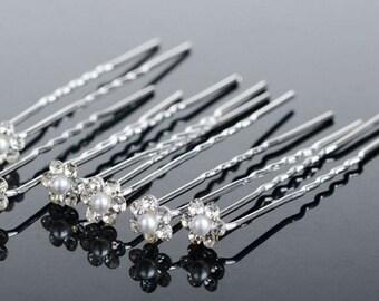 Set of 10 Romantic jeweled pearl flower pin hair accessories Bridal hair pin bridesmaid hair pin prom hair pin Free shipping