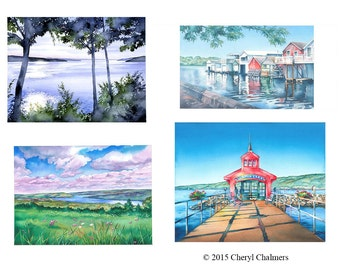 Finger Lakes Note Cards, Landscape Watercolor Cards, Fine Art Prints, Original Greeting Card Set by Cheryl Chalmers