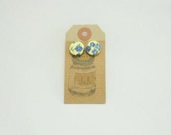 Fabric button earrings, silver plated, handmade
