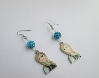 Frozen  earrings on Surgical Steel Wires /Anna / Item E109