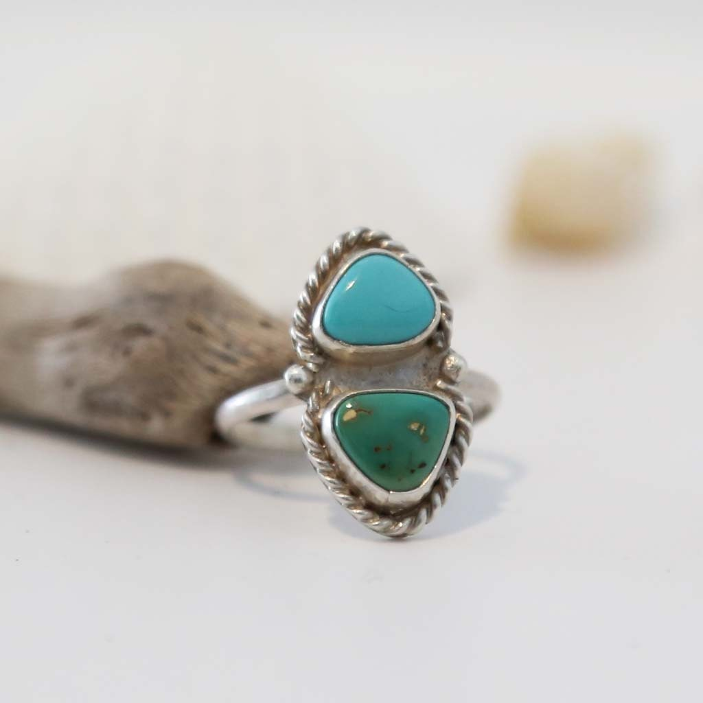 Natural Turquoise Ring Natural Royston Turquoise Two Colour