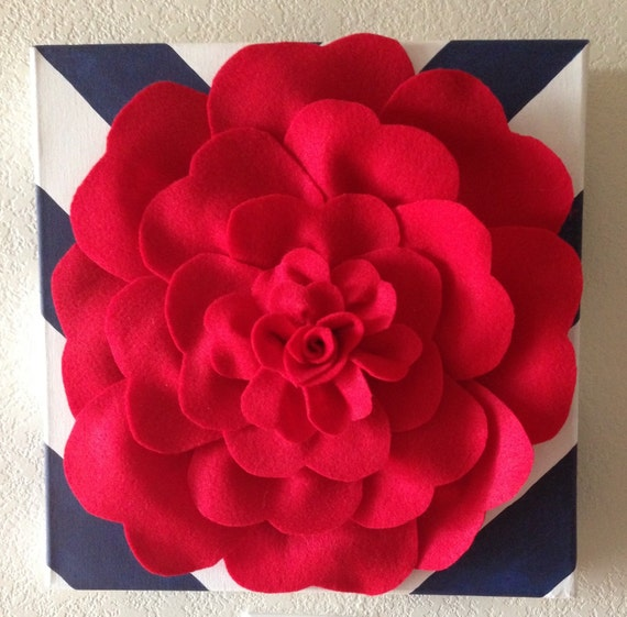 Felt Flowers Wall Decor : Felt wall flower rose art decor