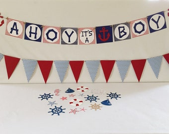Baby Shower Decorations - Nautical Baby Shower Package - Nautical Nursery - Nautical Party - Ahoy its a Boy Banner - Ahoy it's a Boy decor