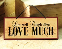 Wall Sign with Love Saying in Yellow, Red & Black. Live. Laugh. Positive Saying. Vintage. Wedding Gift. Inspirational Sign. Ready to Ship