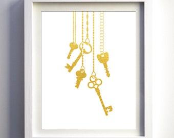 Gold foil faux Skeleton Keys, Keys Art Print, Home Keys Art, Modern Wall Decor, Minimalist Art, Printable Keys, Digital Download Keys Art