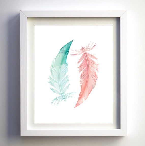 Teal And Coral Feathers Turquoise And Coral Pink Art Print