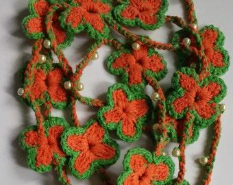 handmade crochet necklace, flowers necklace, crochet necklace, necklace, crochet jewelry, crochet