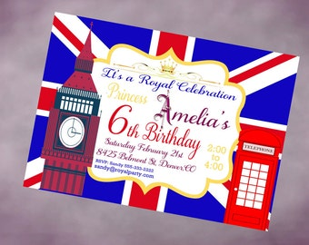 Printable Birthday London Invitation Personalized England Birthday Invitation Printable London Invite