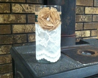 Shabby Chic Flower Vase- Lace and Burlap