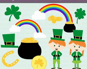 St. Patrick's Day Clipart Digital Art Set INSTANT DOWNLOAD Leprechaun Clipart St. Paddy's Day