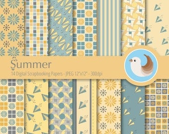 Yellow Digital Paper - Yellow and Blue Digital Paper - Teal Digital Paper Set - Set of 14 Digital Scrapbooking Papers