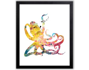 Octopus Art - Octopus Print - Nautical Decor - Nautical Bathroom - Nautical Nursery Watercolor Wall Art - NA011
