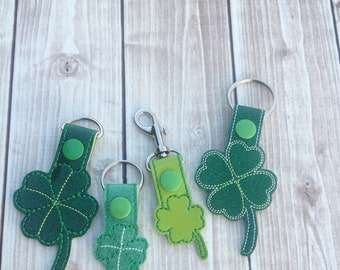 Embroidery Machine Download Design File - Clover Shamrock Combo SnapBean Key Fob, Zipper Pull, Bag Tag