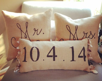 Custom Mr & Mrs Pillows, Seashell and Burlap
